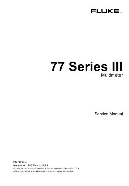 fluke 77 series 1 manual