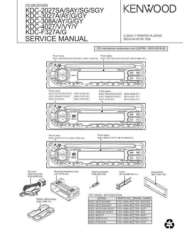 Сервисная инструкция Kenwood