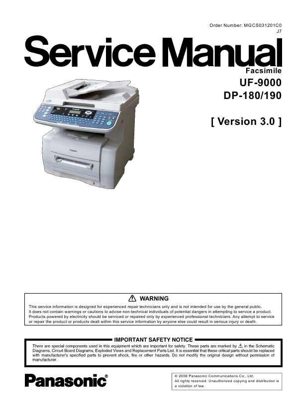 Panasonic Dp 190 User Guide Manual