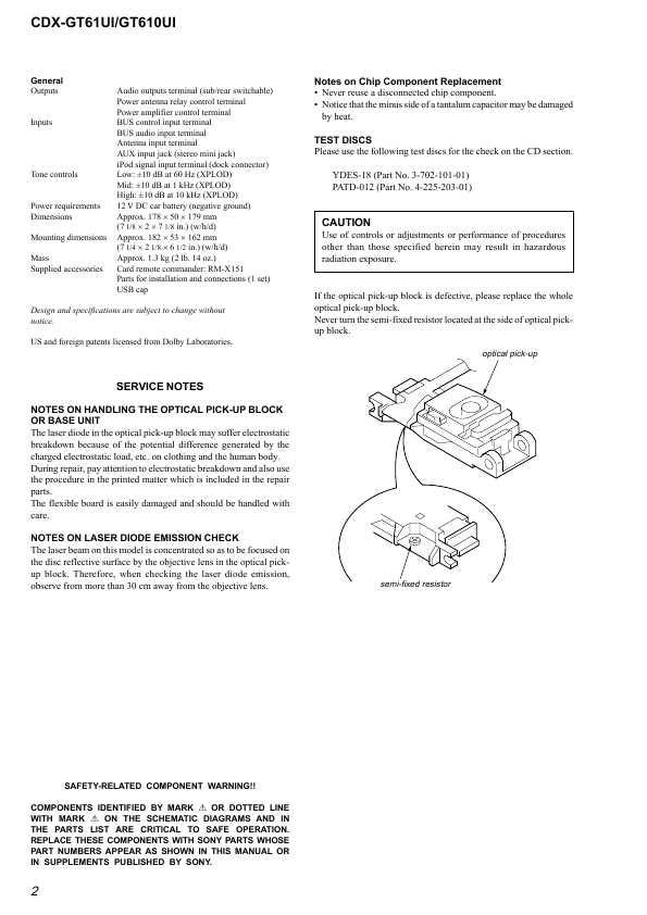 Сервисная инструкция Sony CDX-GT610UI, CDX-GT61UI on
