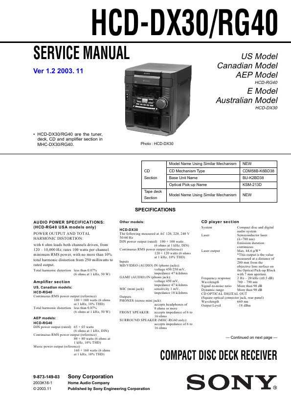 Sony hcd-rg40 инструкция