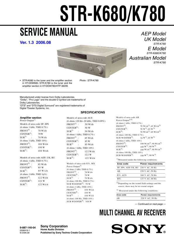 инструкция Sony Str K780 img-1