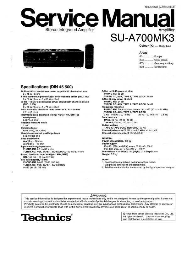 Technics su-a700mk3 инструкция